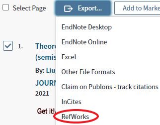 Export button, located after the Select Page checkbox. Export drop-down menu is open and RefWorks is 7th option