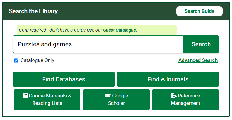 Puzzles and games catalogue search