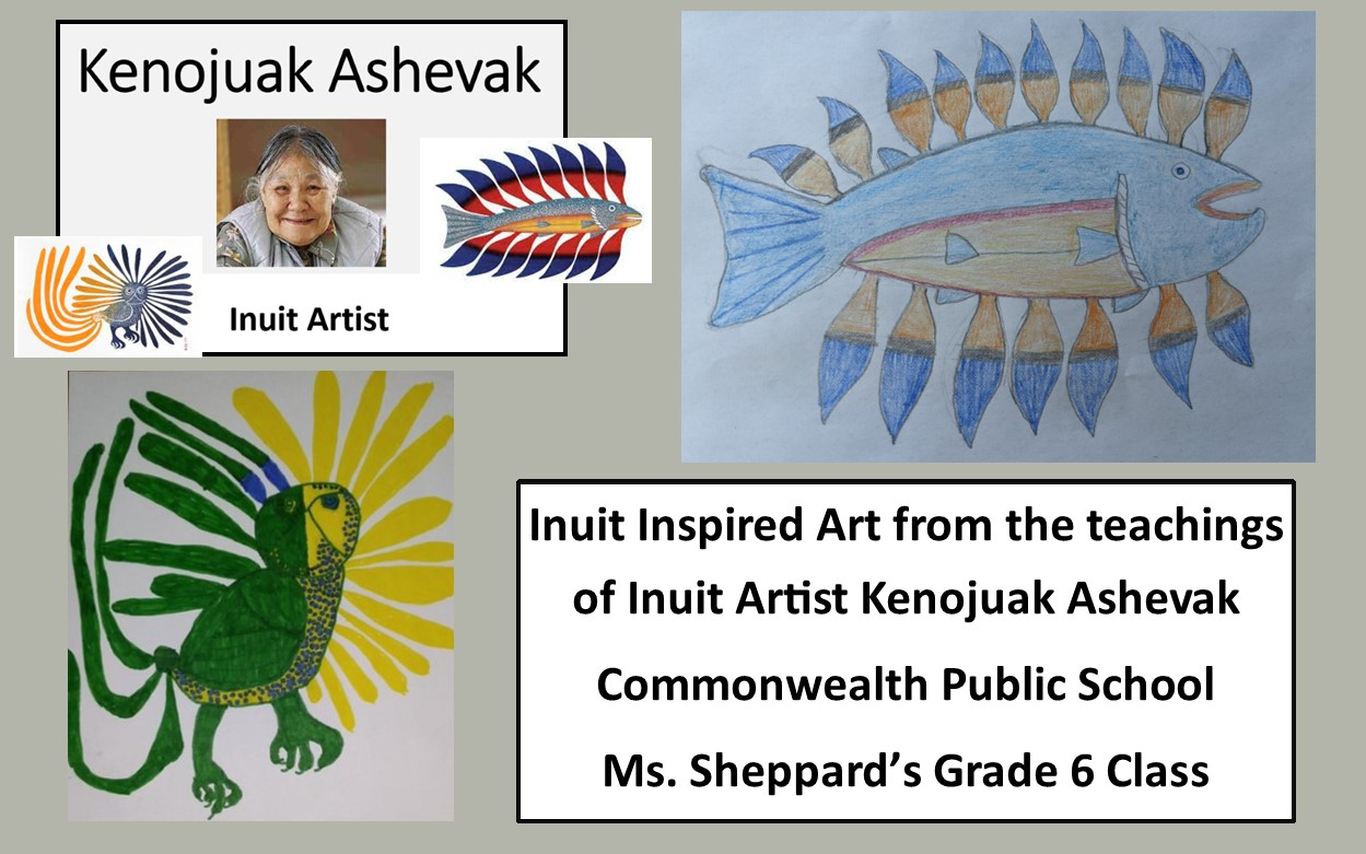 Photo of Inuit Artist Kenojuak Ashevak. Student artwork of a fish and a bird inspired by the artist.