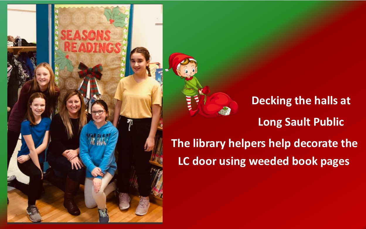 Students and LCI in front of decorated LC door which says Seasons Readings
