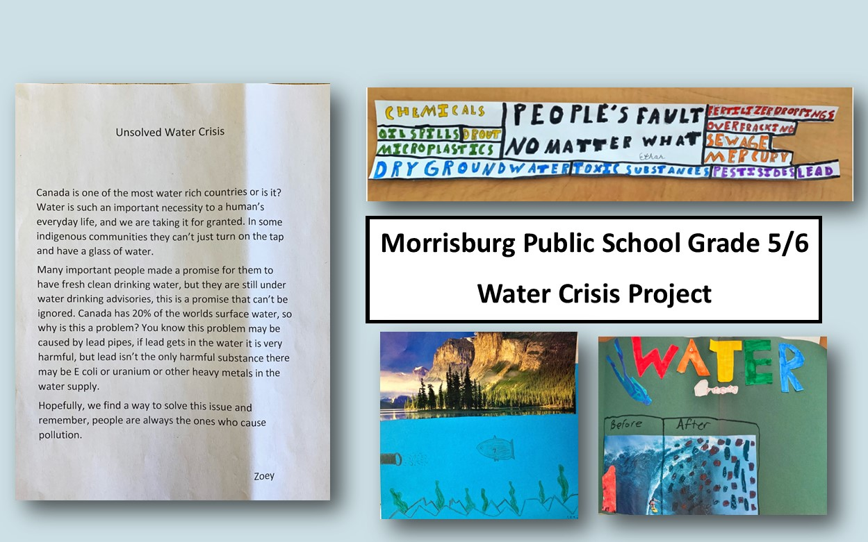 A written paragraph by a student about the water crisis, and images of student artwork about polluting the water. Banner of what pollution is, a fish swimming in polluted water