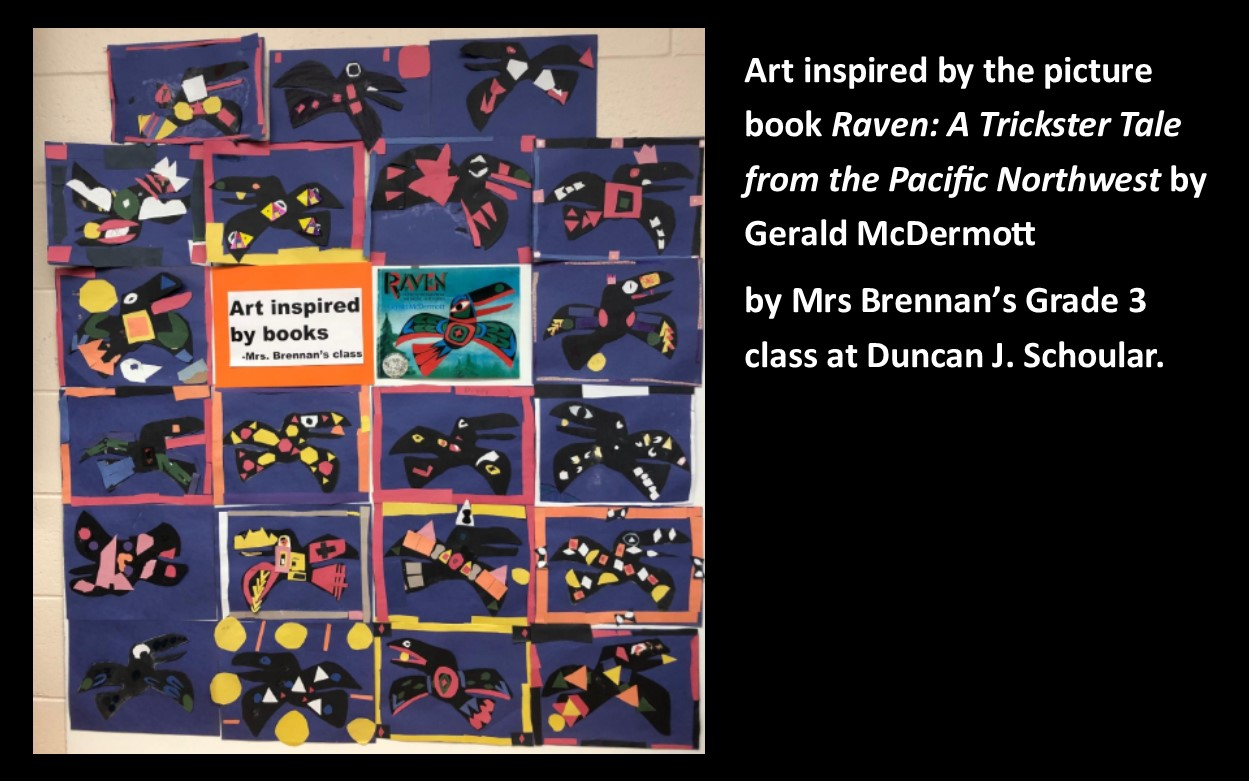 Art work depicting ravens done inspired by Northwest Pacific Indigenous art style.