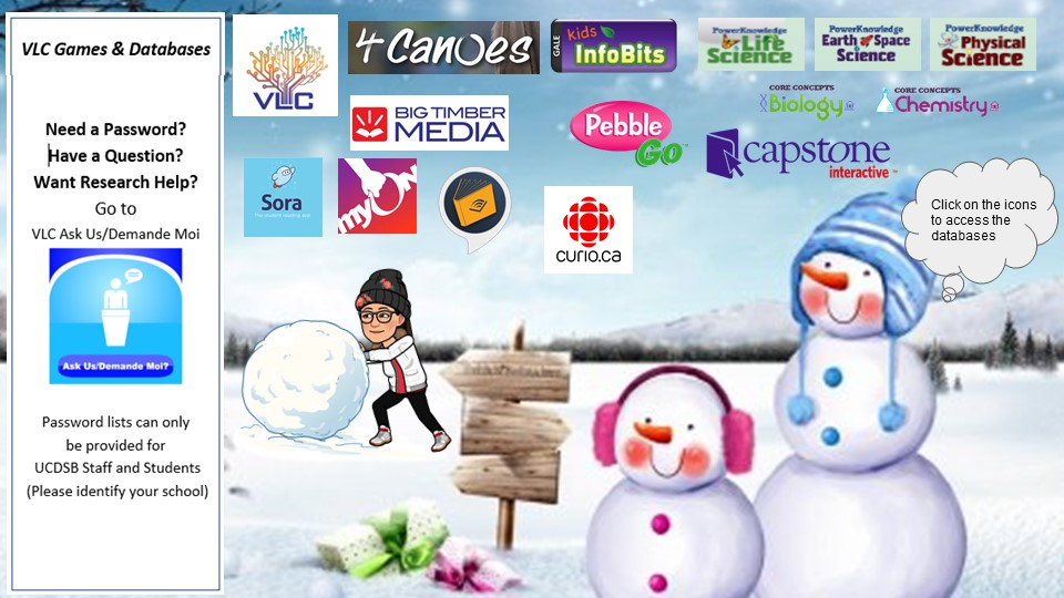 Bitmoji image with two snowmen and a female figure pusing a snow ball.  Includes thumbnail images of databases provided through the Virtual Learning Commons.