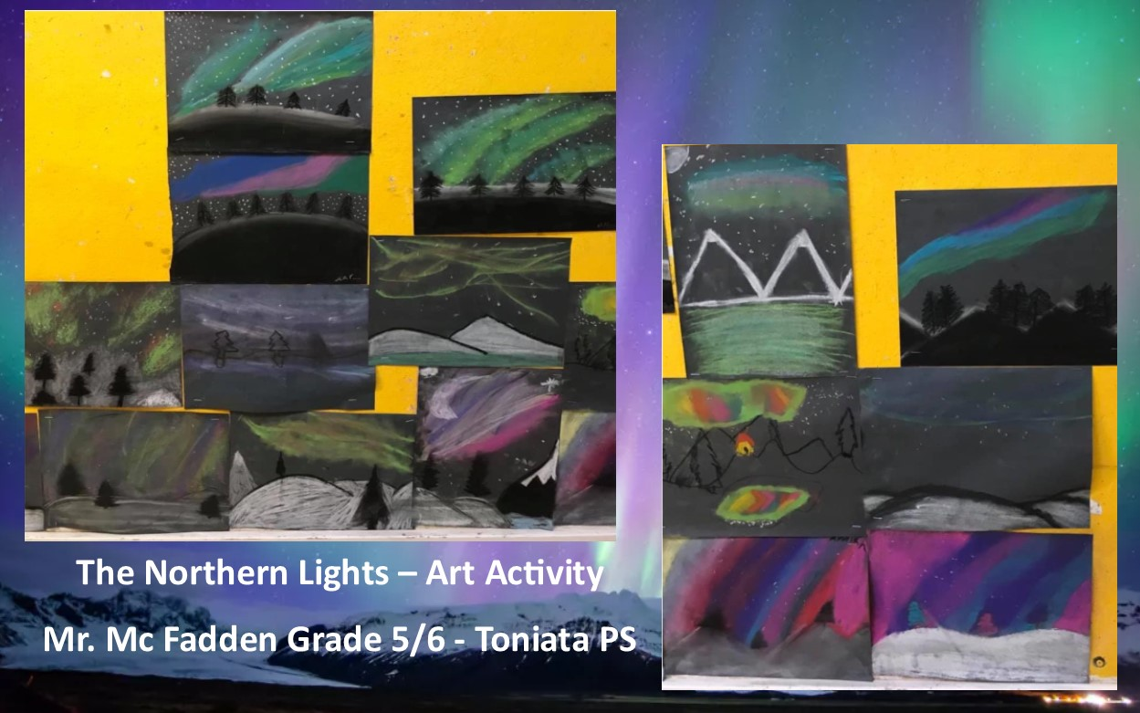 Student paintings of the Northern Lights
