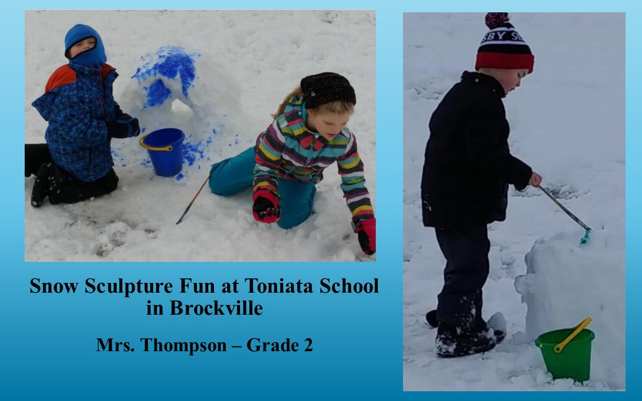 Two photos of children playing in snow and making snow sculptures