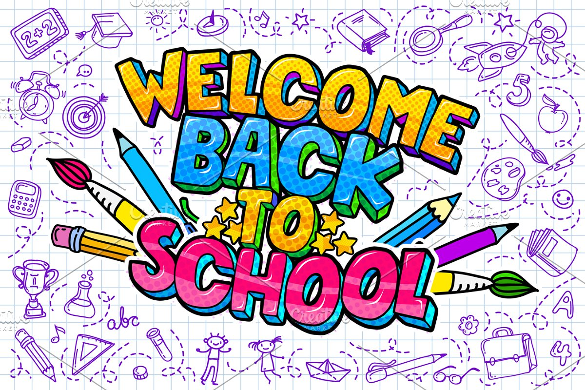 Welcome Back To School with doodle images or school-related things like books, paint brushes, alarim clocks