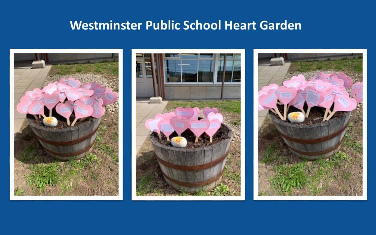 Three images of pink hearts in wooden garden barrels.