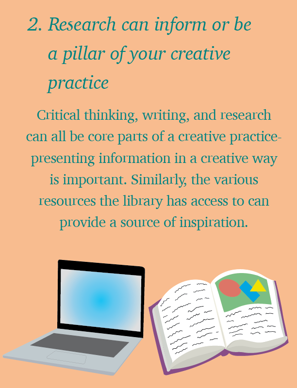 "A digital image with pale orange background and green text reads: ""2. Research can inform or be a pillar of your creative practice. Critical thinking, writing, and research can all be core parts of a creative practice - presenting information in a creative way is important. Similarly, the various resources the library has access to has provide a source of inspiration."" Below, a drawing of an open laptop and an open book with text and pictures can be seen."