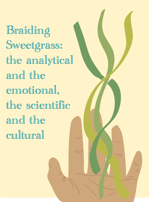 """A digital illustration of a hand with three green strands twisting and extending from it. Text beside it reads: """"Braiding Sweetgrass: the analytical and the emotional, the scientific and the cultural."""""""