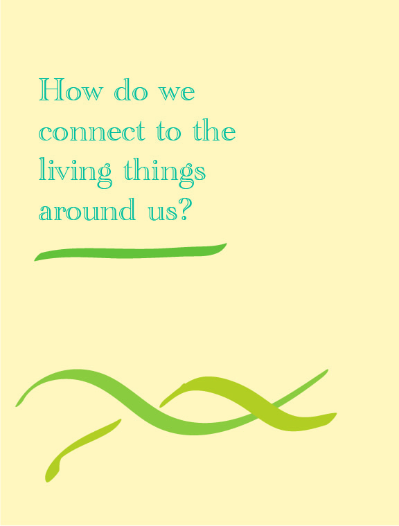 """Text on a pale yellow background with green twists underneath reads """"How do we connect to the living things around us?"""""""