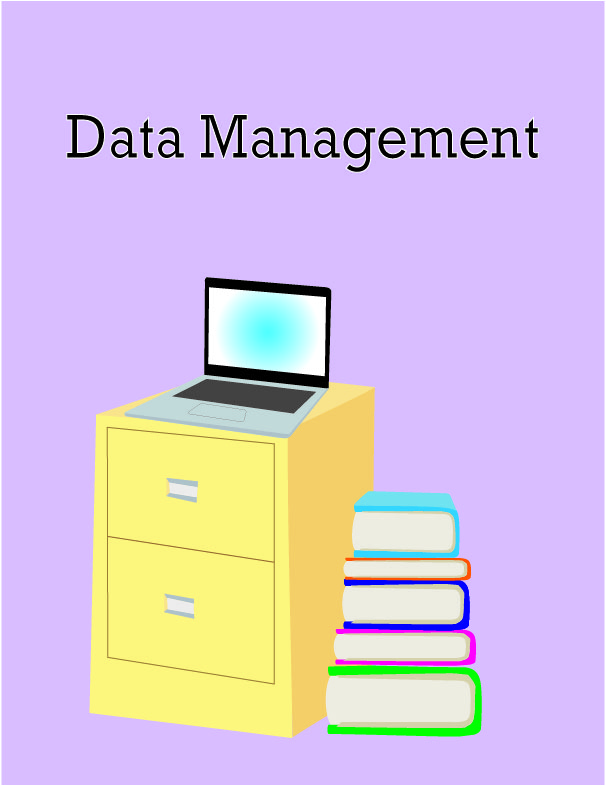 "A digital illustration depicting a laptop resting on a yellowfins filing cabinet beside a stack of books. Text at the top reads: ""Data management"""