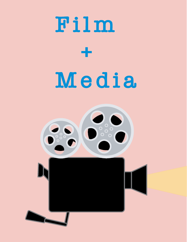 a digital illustration depicting an analog film camera with silver reels on top and a translucent yellow light shining from the lens