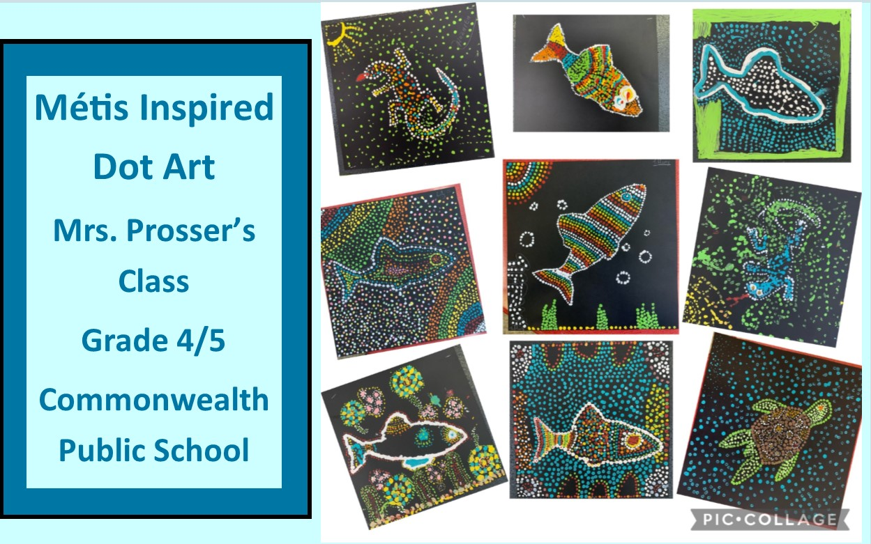 Image of Métis inspired dot art created by Commonwealth PS students