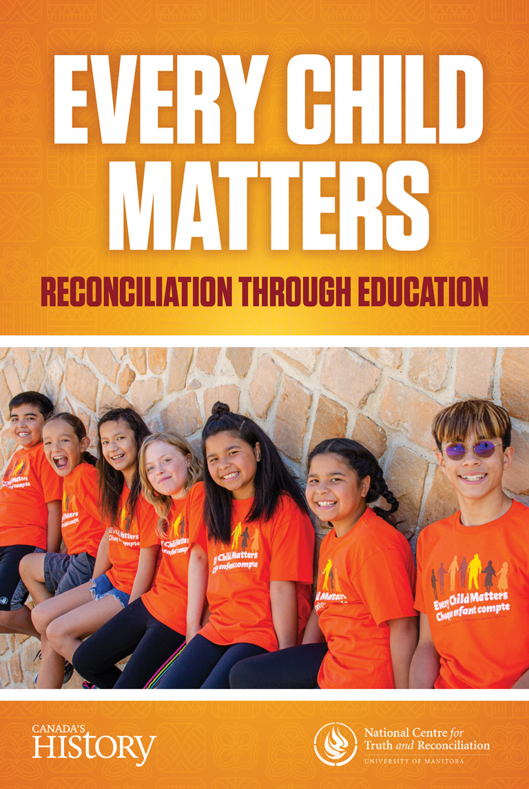 Orange background with the text Every Child Matters - Reconcilliation through education
