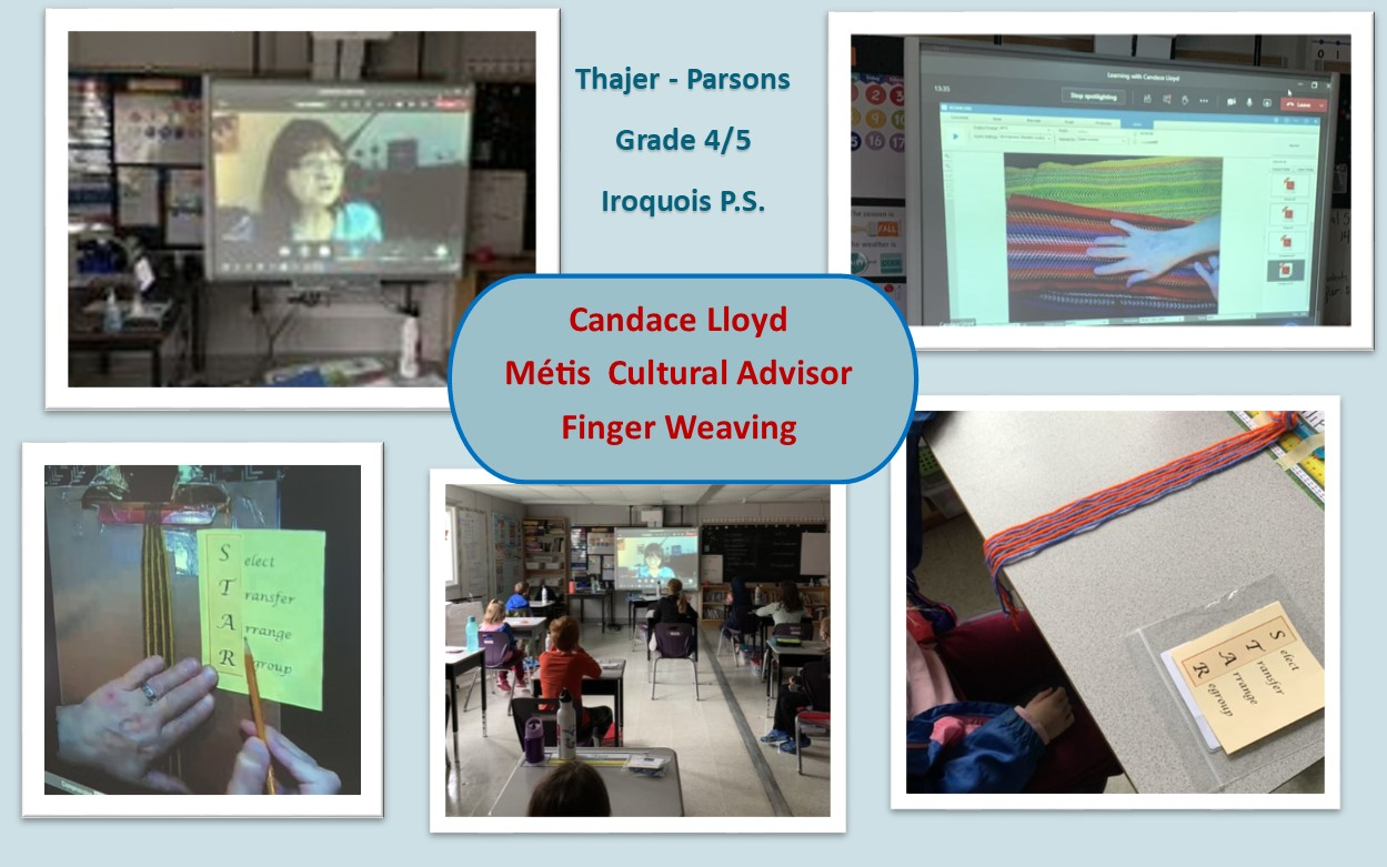 Image of students at Iroquois Public School learning Metis finger weaving