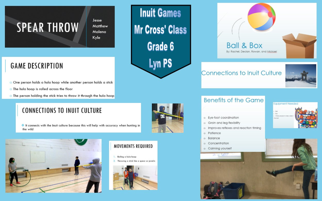 A collage of images from Lyn Public School's Inuit Games project