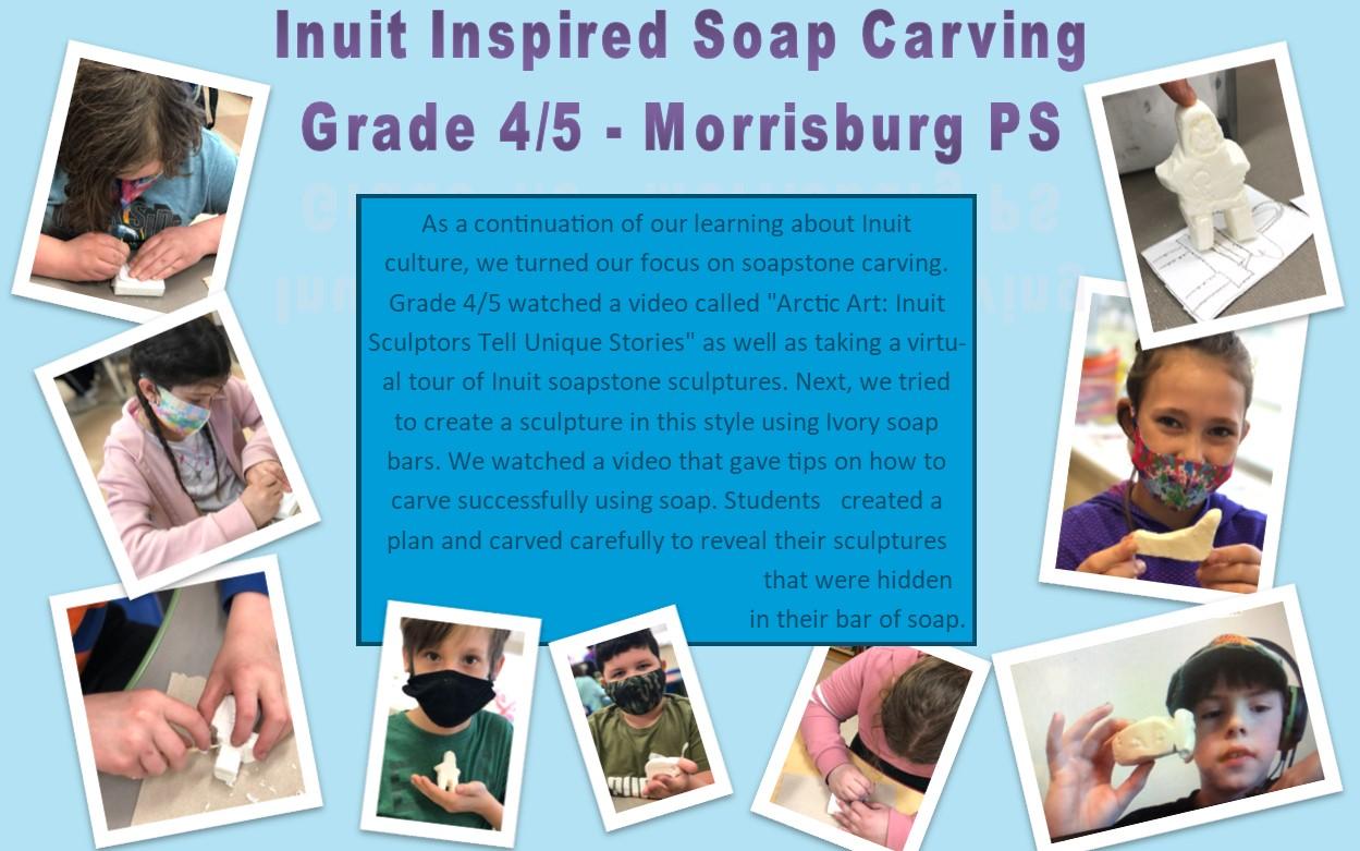 Collage of photos of Inuit inspired soap carving project by Morrisburg Public School students