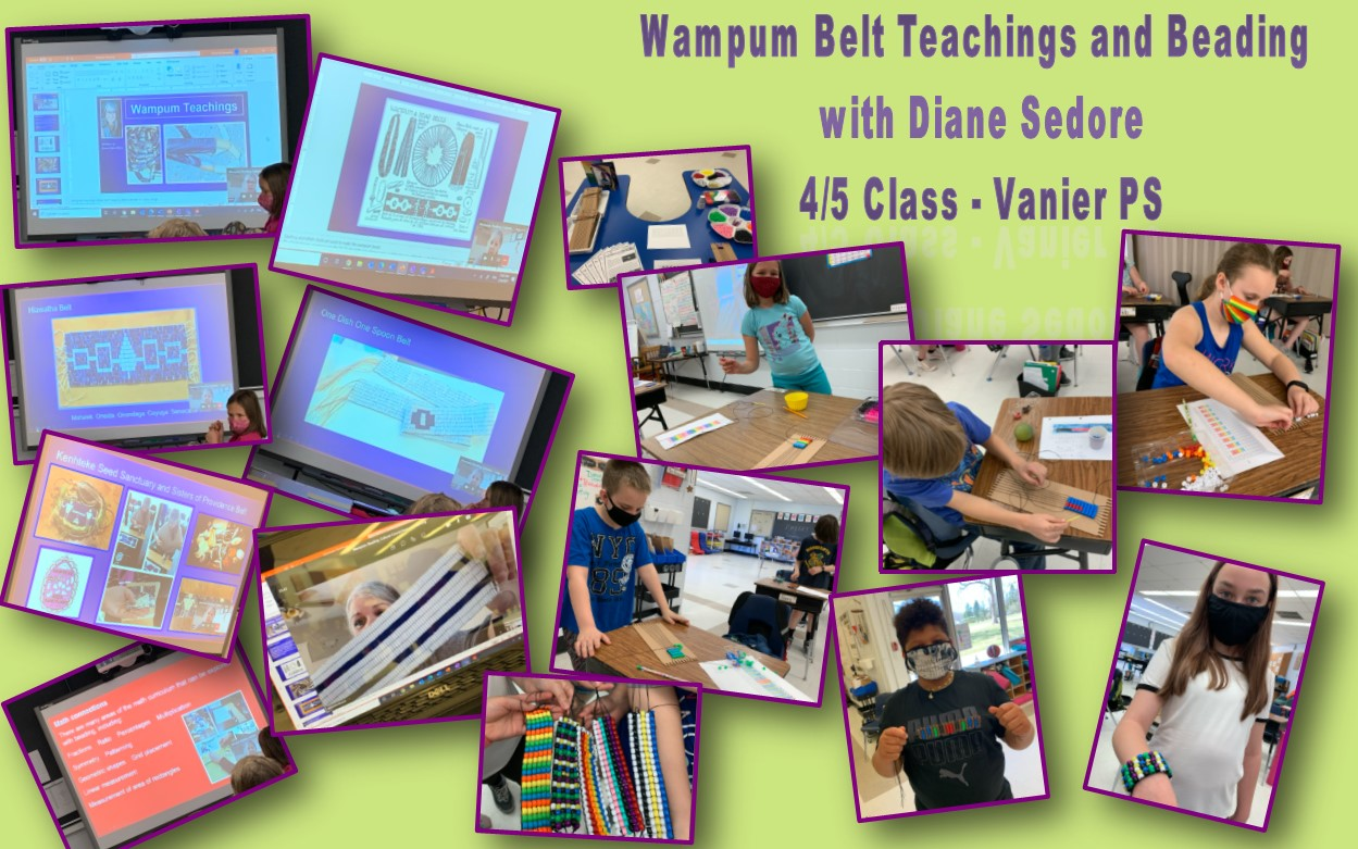 Image of Wampum Belt style beading by 4/5 students at Vanier PS