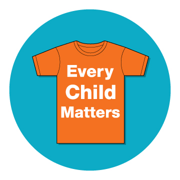 image of an orange t-shirt with the text, Every Child Matters