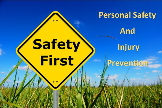 Safety sign along with the title Personal Safety and Injury Prevention