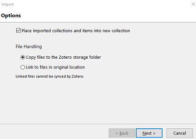 Screenshot of Zotero import dialogue box