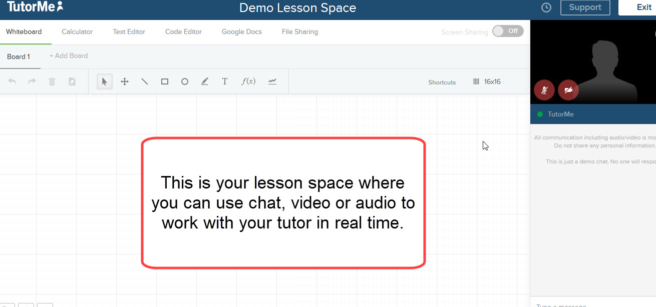 lesson space in Tutorme