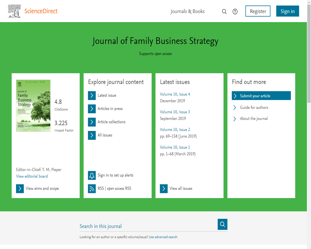 Journal of Family Business Strategy Home Page Screen