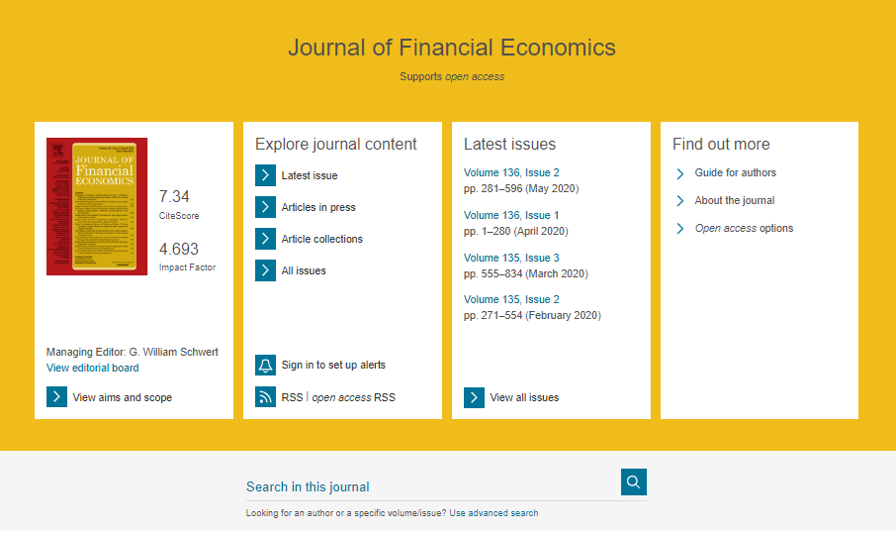 Journal of Financial Economics landing page in Science Direct
