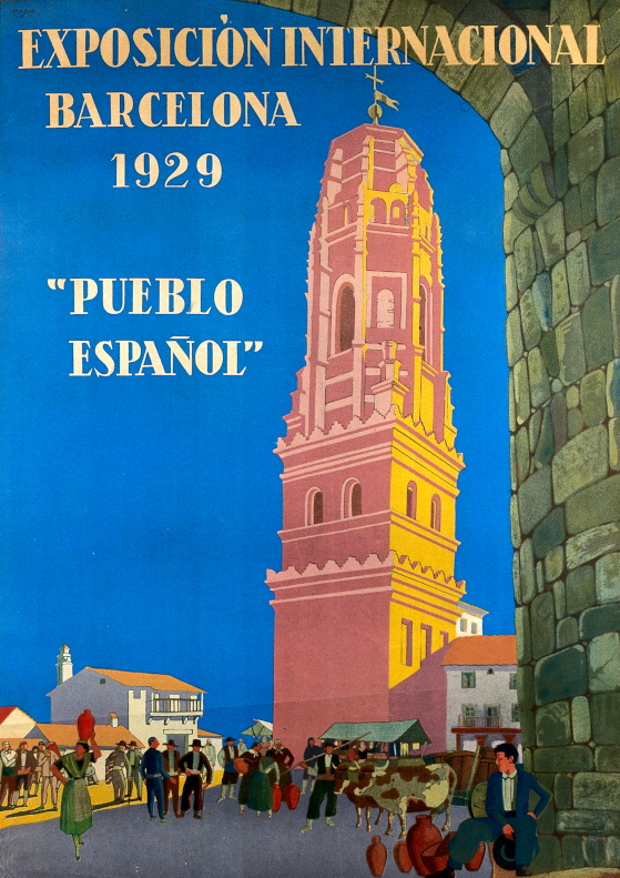 A poster advertising the International Exhibition, Barcelona in 1929, featuring a Spanish village with a church and people.