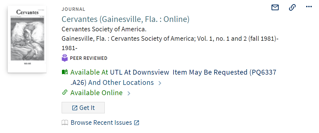 journal item record in LibrarySearch