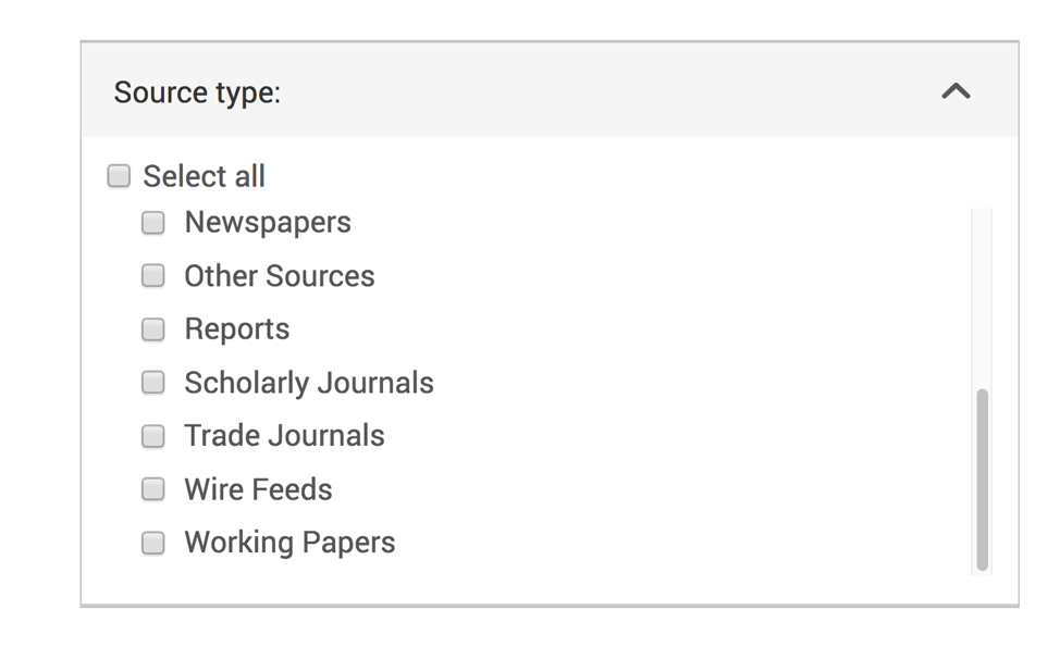 Example from Proquest database of selecting just Trade Journal