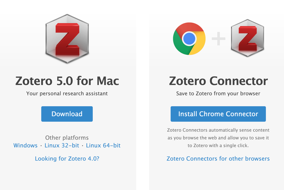 Picture of where to download Zotero or add the bookmark