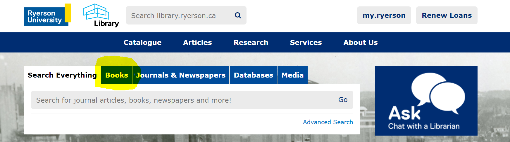 front page of Ryerson Library website, Book tab is highlighted in yellow