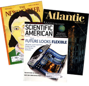 Example of popular magagines like Atlantic and the New Yorker