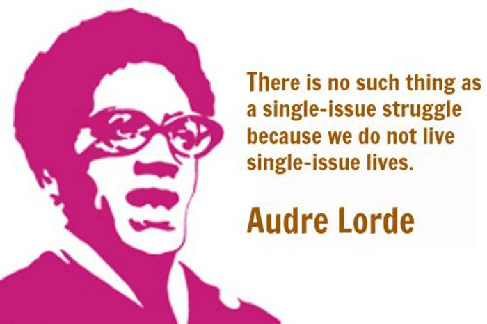 """Two tone illustration of poet Audre Lorde with the quote """"There is no such think as a single-issue struggle because we do not live single-issue lives"""""""