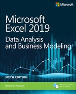 Microsoft Excel 2019 Data Analysis and Business Modeling, Sixth Edition - open in a new window