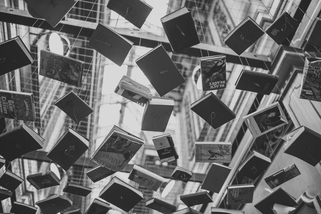 Black and white image of books