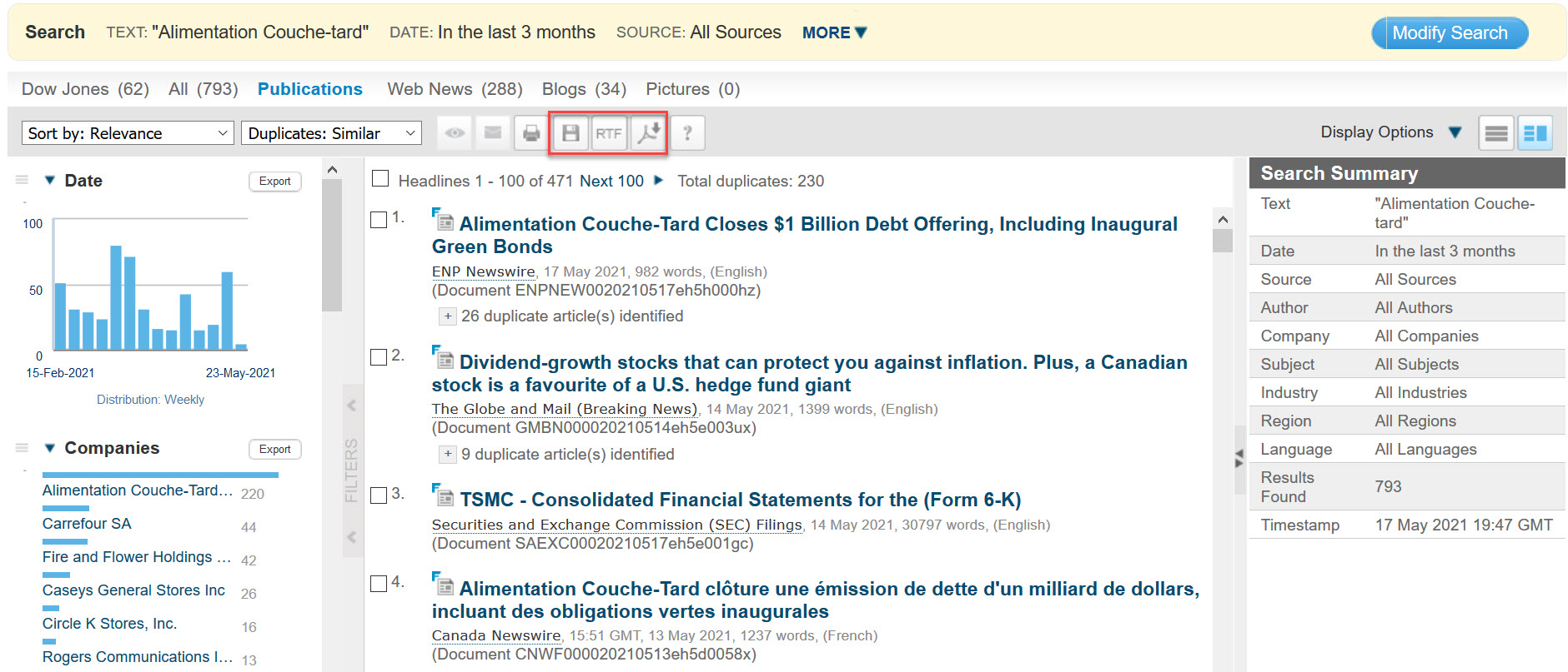 Search_Saving_Exporting articles