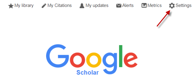 settings option on google scholar