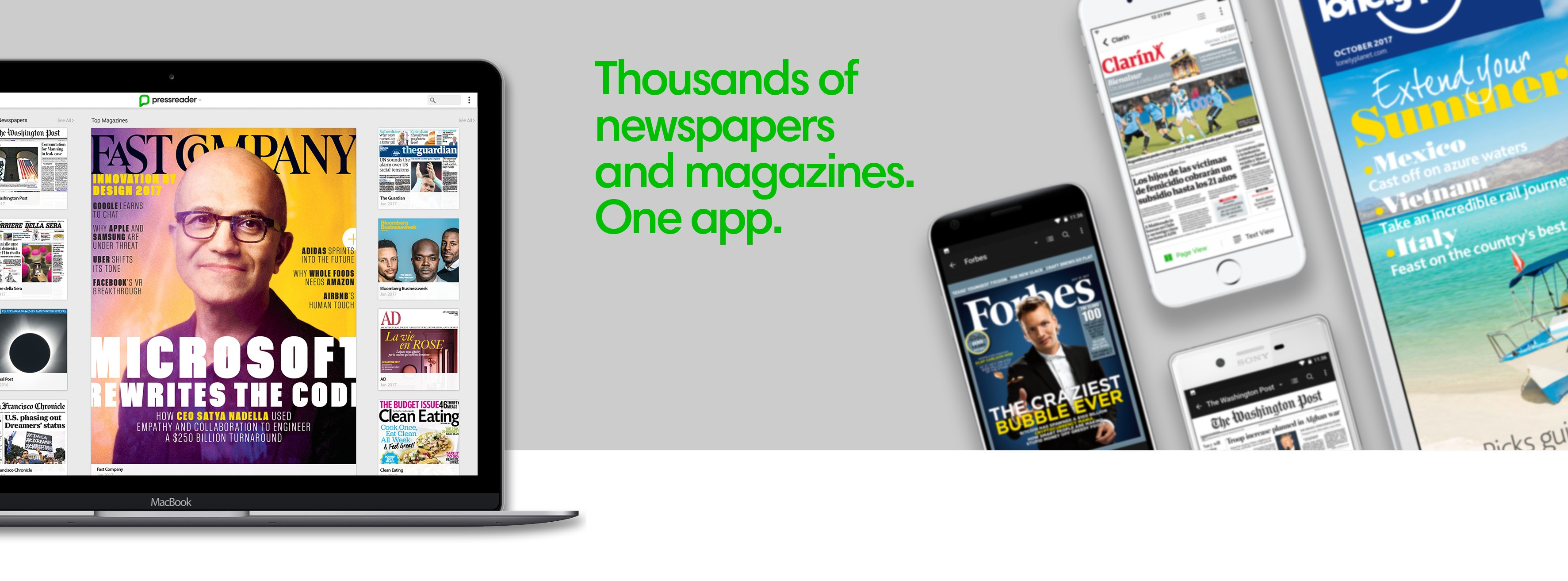 pressreader banner with images of mobile devices displaying news articles