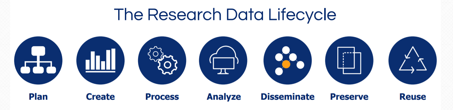 Research data lifecycle: Plan, Create, Process, Analyze, Disseminate, Preserve, Reuse