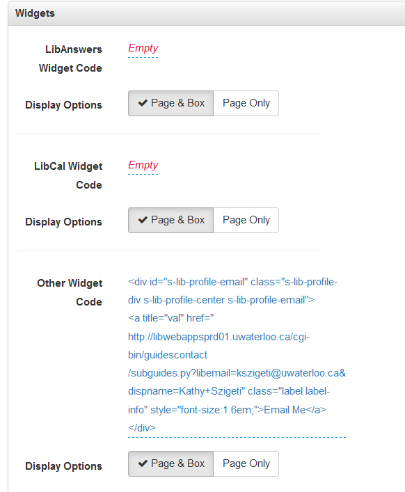 Widget content box showing the code for the email form.