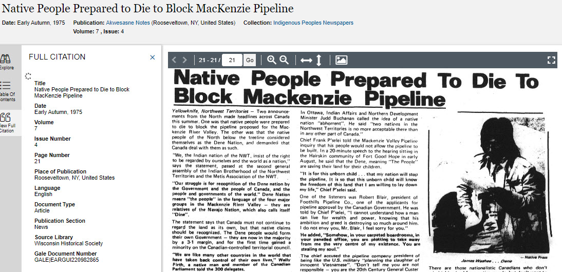 Result screen shows article on the Mackenzie pipeline. From Akwesasne Notes vol 7 (4), 1975.