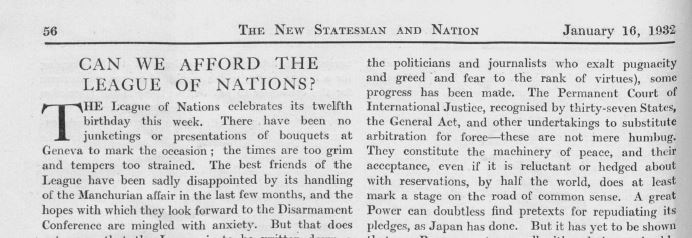 Article extract about the League of Naitons from The New Statesman from 1932