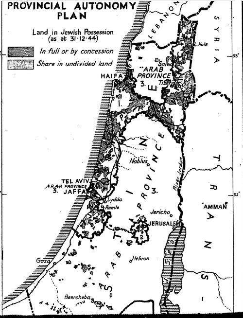 map from command paper:Palestine no. 1 (1947). Proposals for the future of Palestine