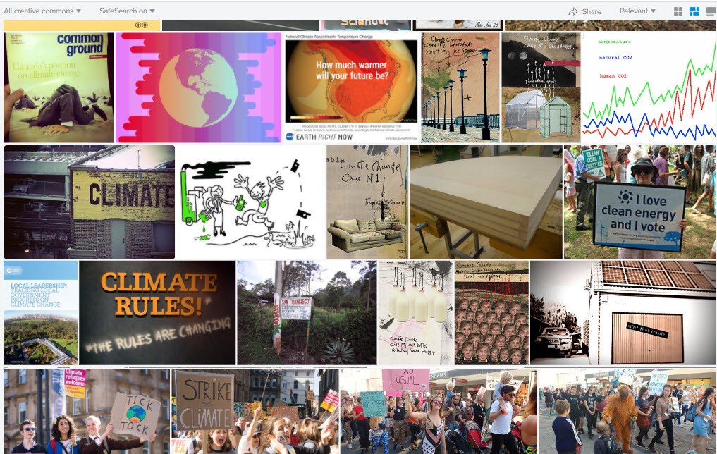 Flickr results screen for the search: climate. Images include publication covers, protest marches, and posters about climate change