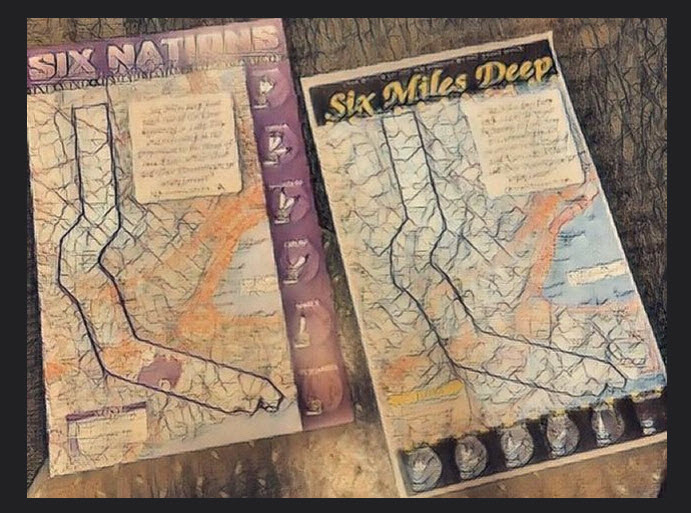 2 photographs of maps showing the land promised to the Six Nations: Six miles on either side of the Grand River