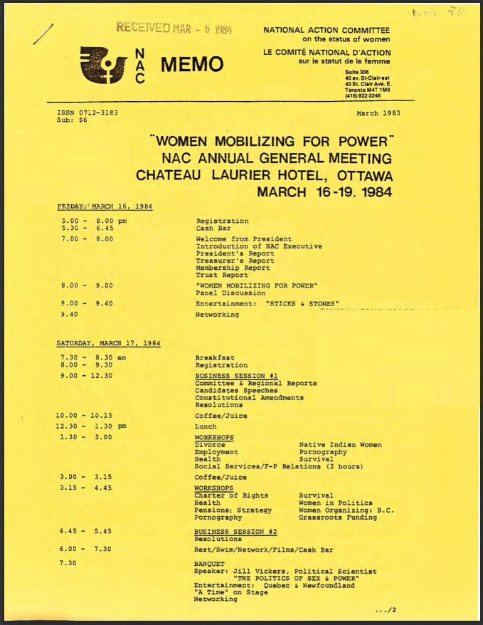 "Page one of NAC MEMO from March 1983 showing some of the program of the upcoming annual general meeting ""Women Mobilizing for Power""."