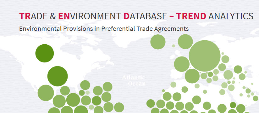 Trade and environment database home page showing map of environmental provisions in tradeagreements