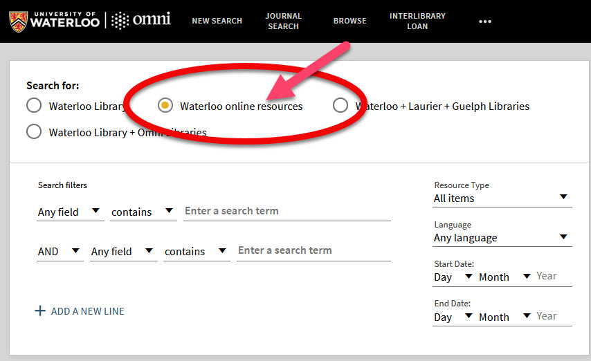 Omni, the catalogue's advanced search showing the second radio button to limit to Waterloo's online resources